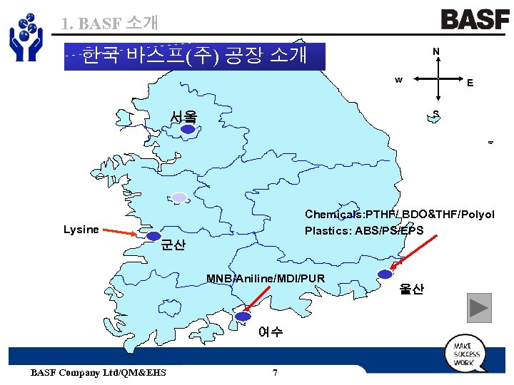 1. BASF 소개 한국 바스프(주) 공장 소개 N w E S 서울 Chemicals: PTHF/