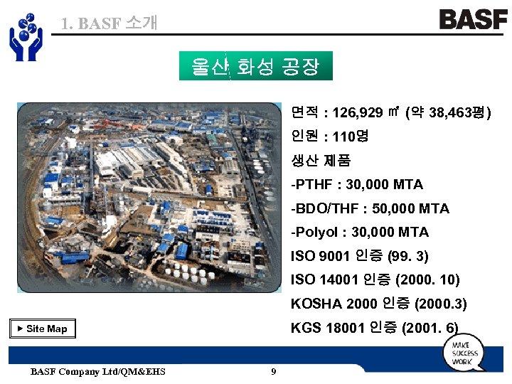 1. BASF 소개 울산 화성 공장 면적 : 126, 929 ㎡ (약 38, 463평)