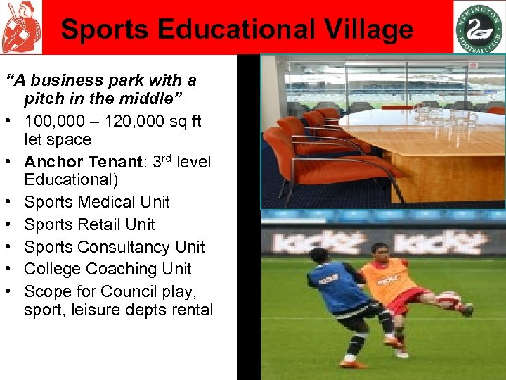 """Sports Educational Village """"A business park with a pitch in the middle"""" • 100,"""