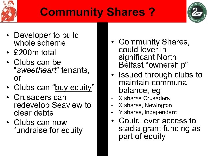 Community Shares ? • Developer to build whole scheme • £ 200 m total