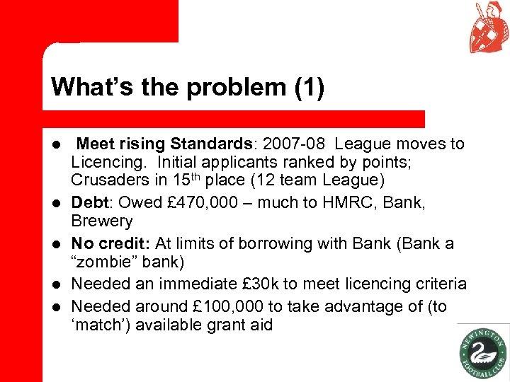 What's the problem (1) l l l Meet rising Standards: 2007 -08 League moves