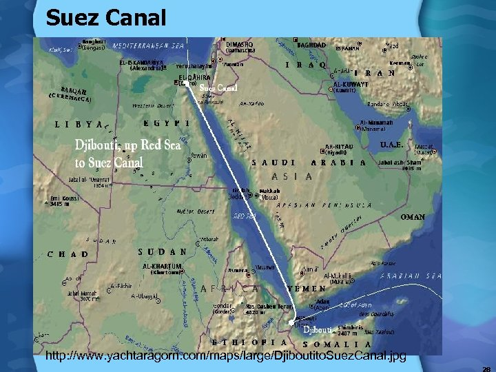 Suez Canal http: //www. yachtaragorn. com/maps/large/Djiboutito. Suez. Canal. jpg