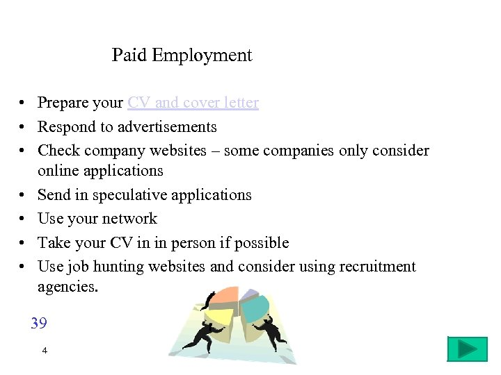 Paid Employment • Prepare your CV and cover letter • Respond to advertisements •