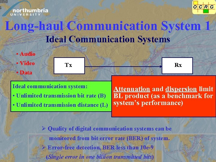 Long-haul Communication System 1 Ideal Communication Systems • Audio • Video Tx Rx •