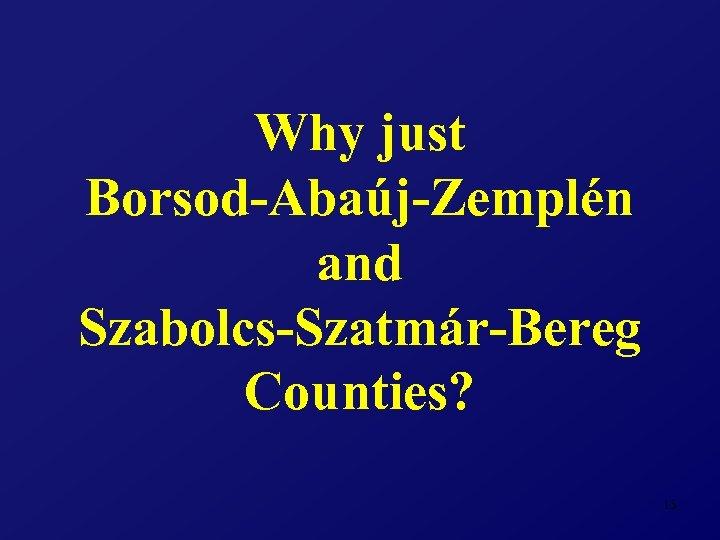 Why just Borsod-Abaúj-Zemplén and Szabolcs-Szatmár-Bereg Counties? 13
