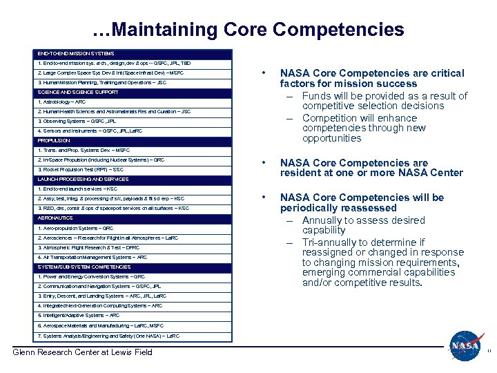 …Maintaining Core Competencies END-TO-END MISSION SYSTEMS 1. End-to-end mission sys. arch. , design, dev