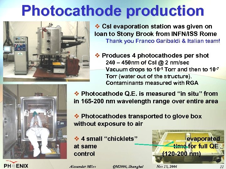 Photocathode production v Cs. I evaporation station was given on loan to Stony Brook