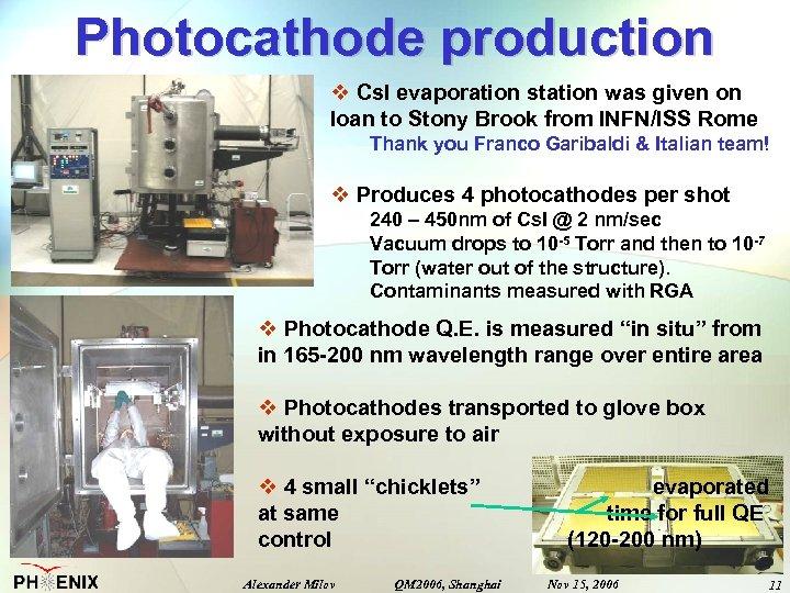 Photocathode production v Cs. I evaporation station was given on loan to Stony Brook