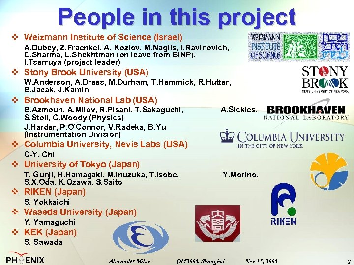 People in this project v Weizmann Institute of Science (Israel) A. Dubey, Z. Fraenkel,