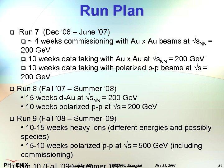 Run Plan q Run 7 (Dec ' 06 – June ' 07) q ~