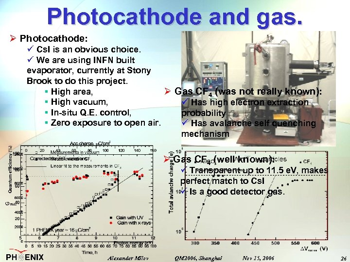 Photocathode and gas. Ø Photocathode: ü Cs. I is an obvious choice. ü We