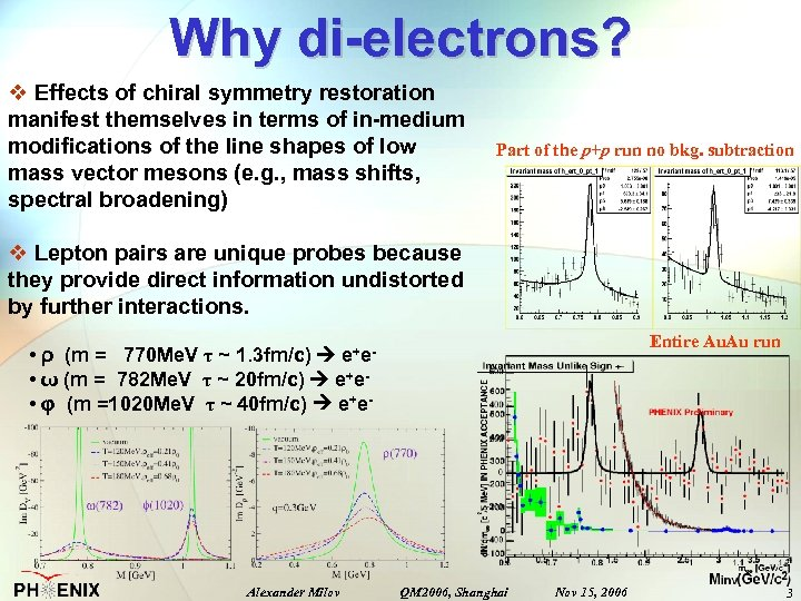 Why di-electrons? v Effects of chiral symmetry restoration manifest themselves in terms of in-medium