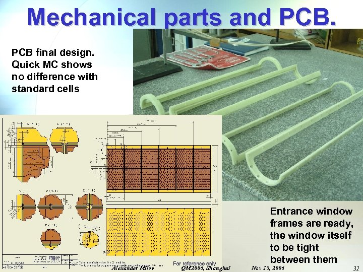 Mechanical parts and PCB final design. Quick MC shows no difference with standard cells