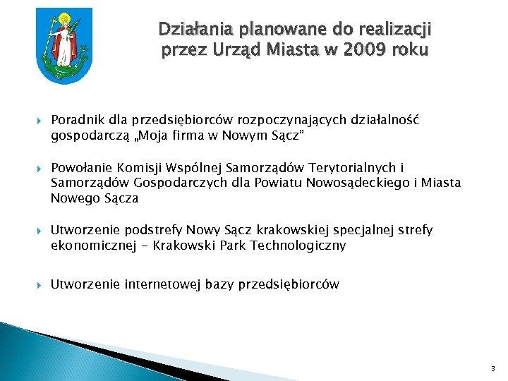 Działania planowane do realizacji przez Urząd Miasta w 2009 roku Poradnik dla przedsiębiorców rozpoczynających