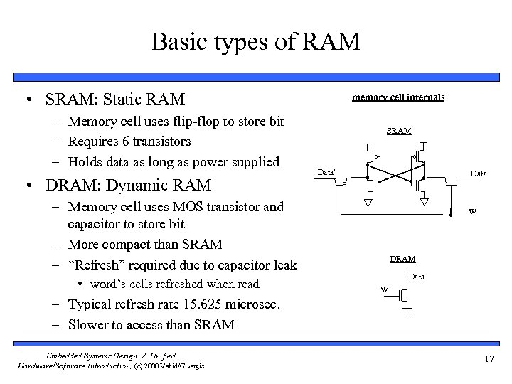 Basic types of RAM • SRAM: Static RAM – Memory cell uses flip-flop to