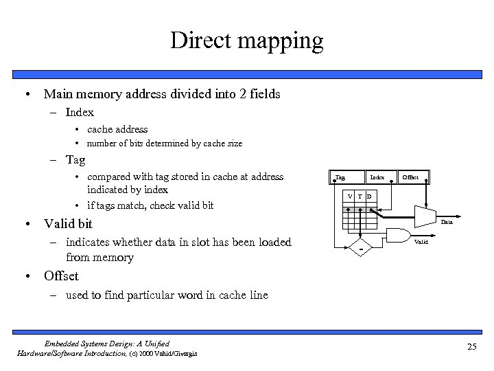 Direct mapping • Main memory address divided into 2 fields – Index • cache