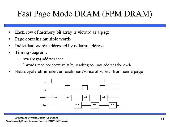 Fast Page Mode DRAM (FPM DRAM) • • Each row of memory bit array