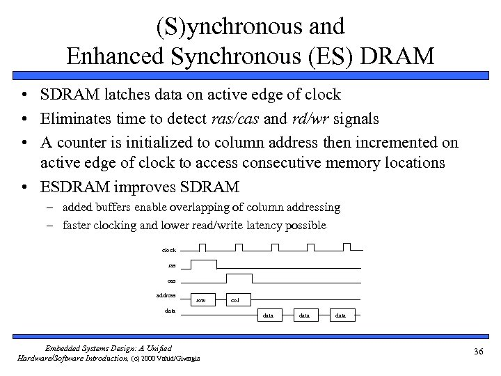 (S)ynchronous and Enhanced Synchronous (ES) DRAM • SDRAM latches data on active edge of