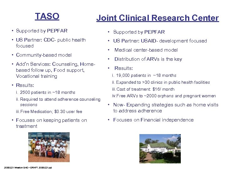 TASO Joint Clinical Research Center • Supported by PEPFAR • US Partner: CDC- public