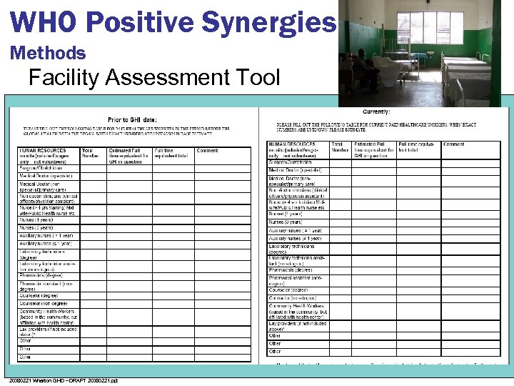 WHO Positive Synergies Methods Facility Assessment Tool 20080221 Wharton GHD – DRAFT 20080221. ppt