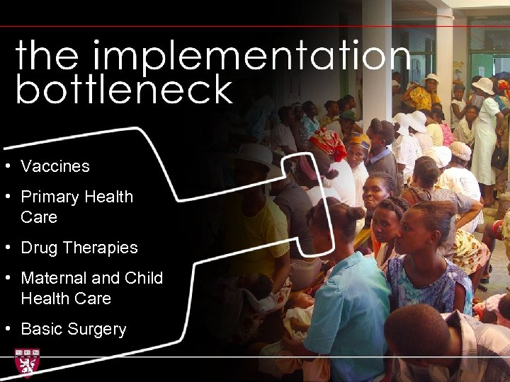 Implementation bottleneck • Vaccines • Primary Health Care • Drug Therapies • Maternal and