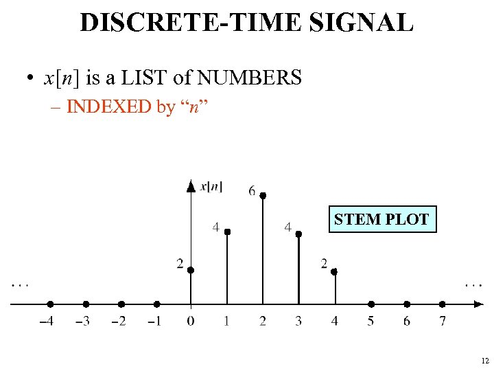 """DISCRETE-TIME SIGNAL • x[n] is a LIST of NUMBERS – INDEXED by """"n"""" STEM"""
