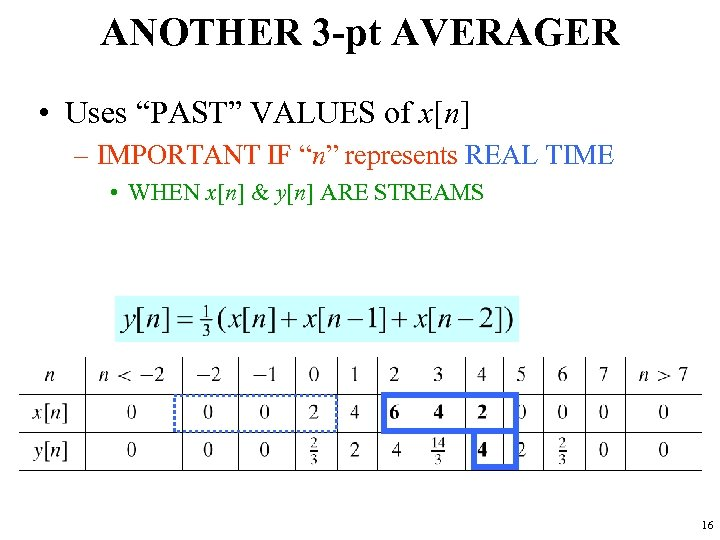 """ANOTHER 3 -pt AVERAGER • Uses """"PAST"""" VALUES of x[n] – IMPORTANT IF """"n"""""""
