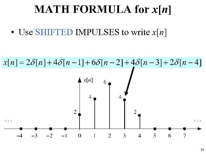 MATH FORMULA for x[n] • Use SHIFTED IMPULSES to write x[n] 23