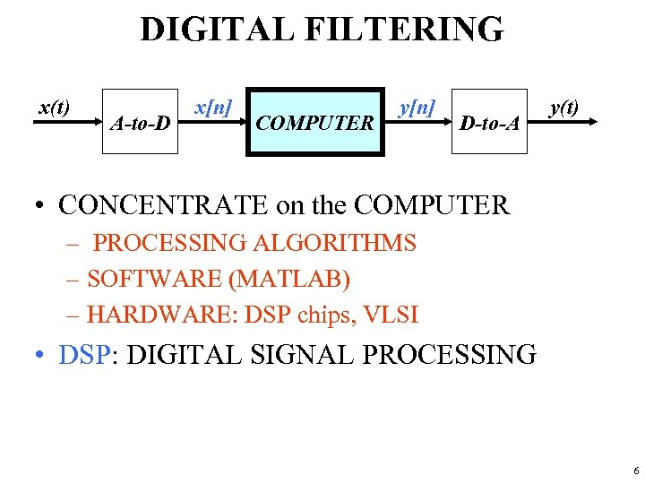 DIGITAL FILTERING x(t) A-to-D x[n] COMPUTER y[n] D-to-A y(t) • CONCENTRATE on the COMPUTER