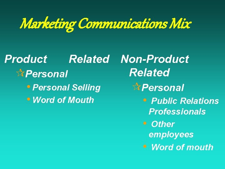Marketing Communications Mix Product Related ¶Personal • Personal Selling • Word of Mouth Non-Product