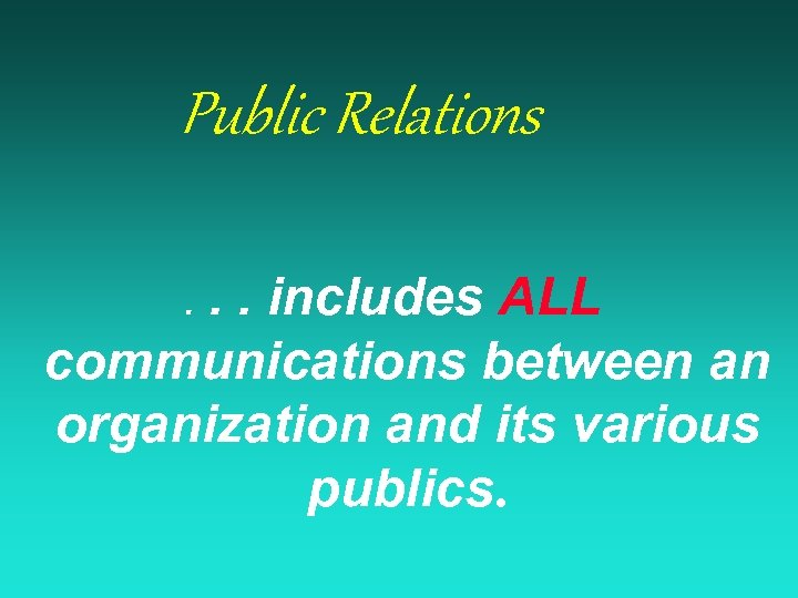 Public Relations. . includes ALL communications between an organization and its various publics. .
