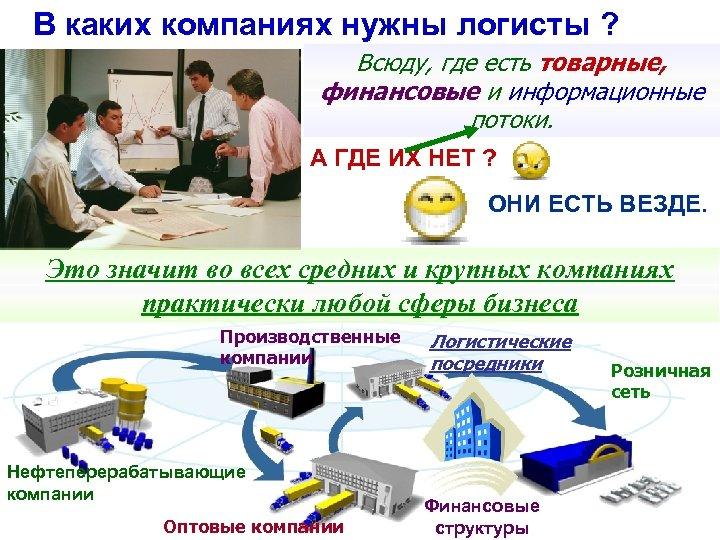 В каких компаниях нужны логисты ? Всюду, где есть товарные, финансовые и информационные потоки.