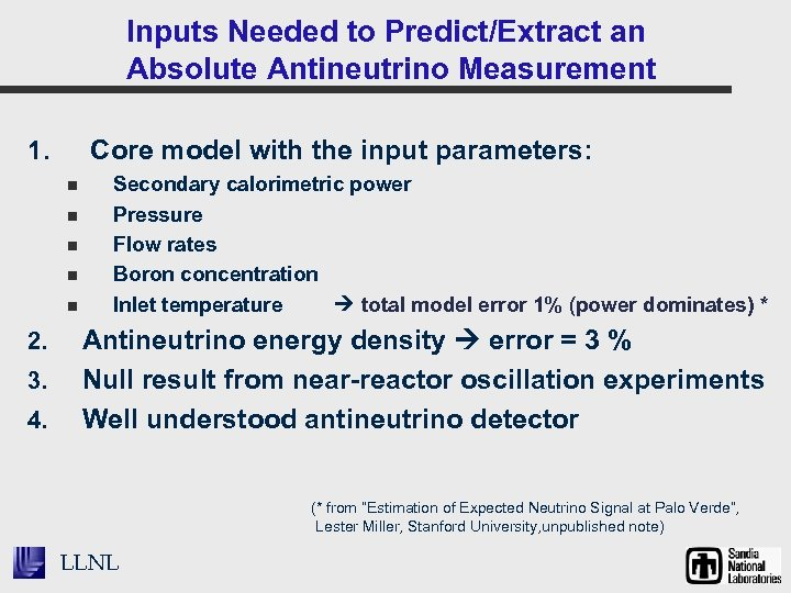 Inputs Needed to Predict/Extract an Absolute Antineutrino Measurement Core model with the input parameters:
