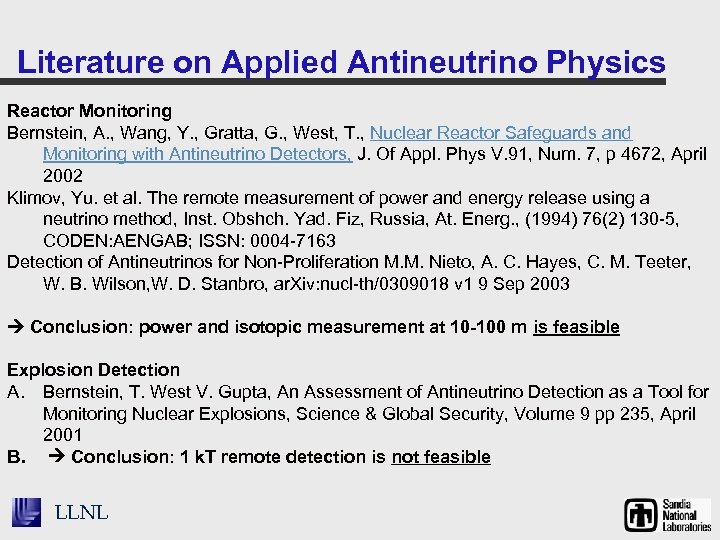 Literature on Applied Antineutrino Physics Reactor Monitoring Bernstein, A. , Wang, Y. , Gratta,
