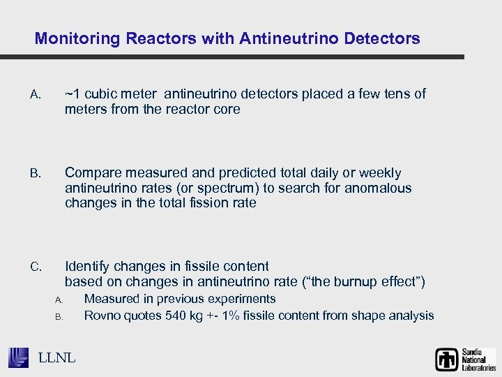 Monitoring Reactors with Antineutrino Detectors A. ~1 cubic meter antineutrino detectors placed a few