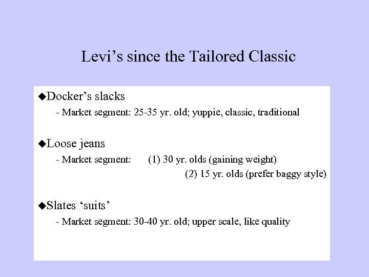 Levi's since the Tailored Classic u. Docker's slacks - Market segment: 25 -35 yr.