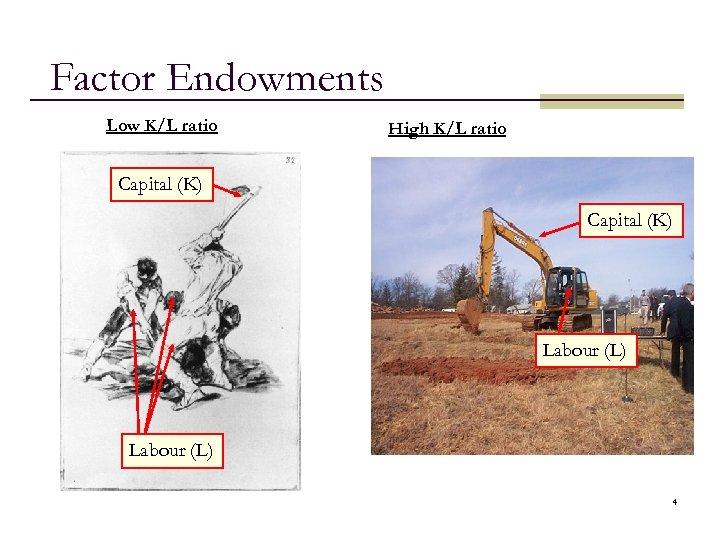 Factor Endowments Low K/L ratio High K/L ratio Capital (K) Labour (L) 4