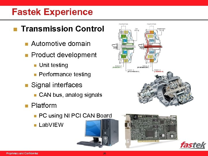 Fastek Experience n Transmission Control n Automotive domain n Product development n n n