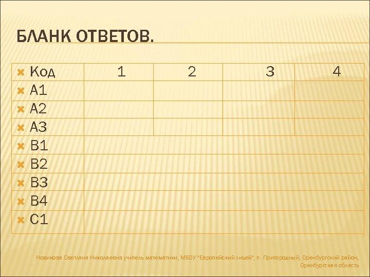 БЛАНК ОТВЕТОВ. Код А 1 А 2 А 3 В 1 В 2 В