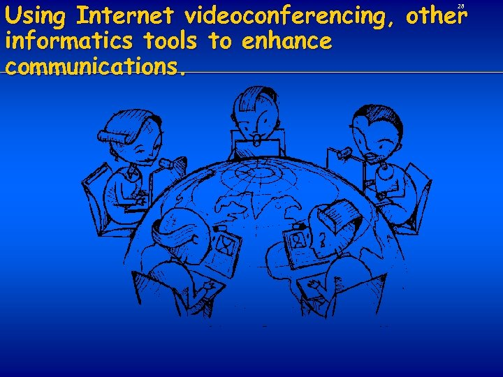 Using Internet videoconferencing, other informatics tools to enhance communications. 28