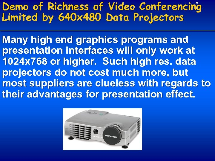 Demo of Richness of Video Conferencing Limited by 640 x 480 Data Projectors 38