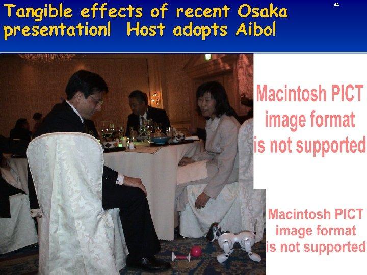 Tangible effects of recent Osaka presentation! Host adopts Aibo! 44