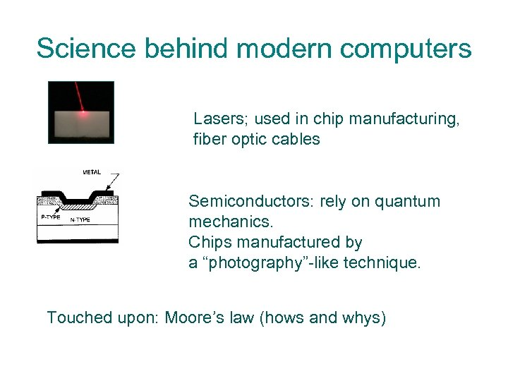 Science behind modern computers Lasers; used in chip manufacturing, fiber optic cables Semiconductors: rely
