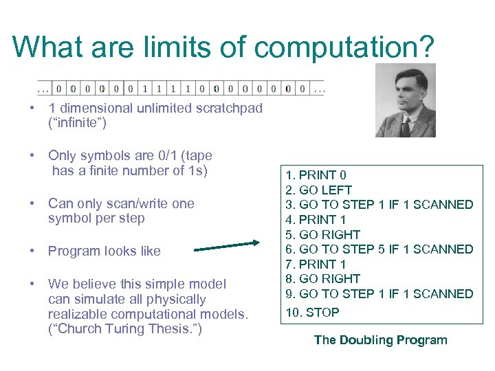 "What are limits of computation? • 1 dimensional unlimited scratchpad (""infinite"") • Only symbols"