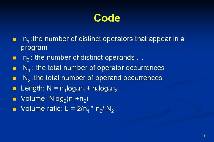 Code n n n n 1 : the number of distinct operators that appear