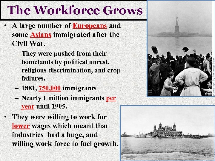 The Workforce Grows • A large number of Europeans and some Asians immigrated after