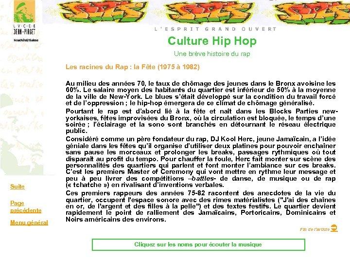 Culture Hip Hop Une brève histoire du rap Les racines du Rap : la