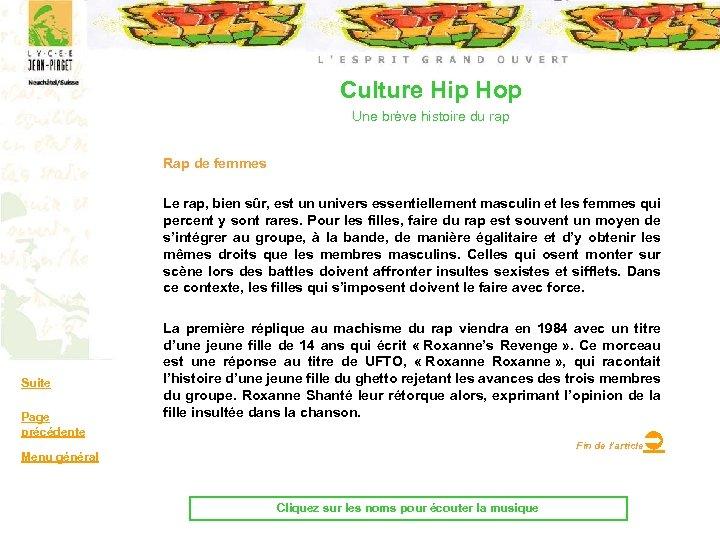 Culture Hip Hop Une brève histoire du rap Rap de femmes Le rap, bien