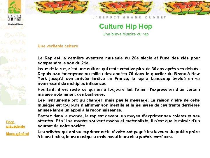 Culture Hip Hop Une brève histoire du rap Une véritable culture Page précédente Menu
