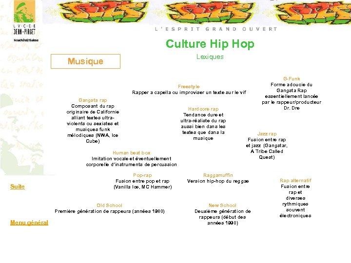 Culture Hip Hop Lexiques Musique G-Funk Forme adoucie du Gangsta Rap essentiellement lancée par